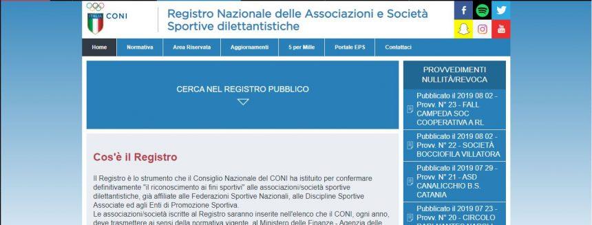 REGISTRO CONI 2.0: RAPPORTO DIRETTO CON LE ASD/SSD
