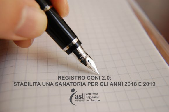 REGISTRO CONI 2.0: STABILITA UNA SANATORIA PER GLI ANNI 2018 E 2019