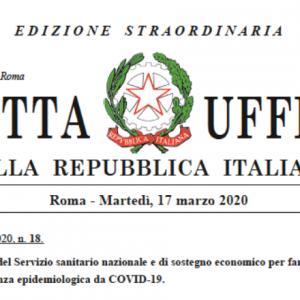 """ASI  LOMBARDIA: DECRETO LEGGE """"CURA ITALIA"""" N.18 DEL 17.03.2020"""