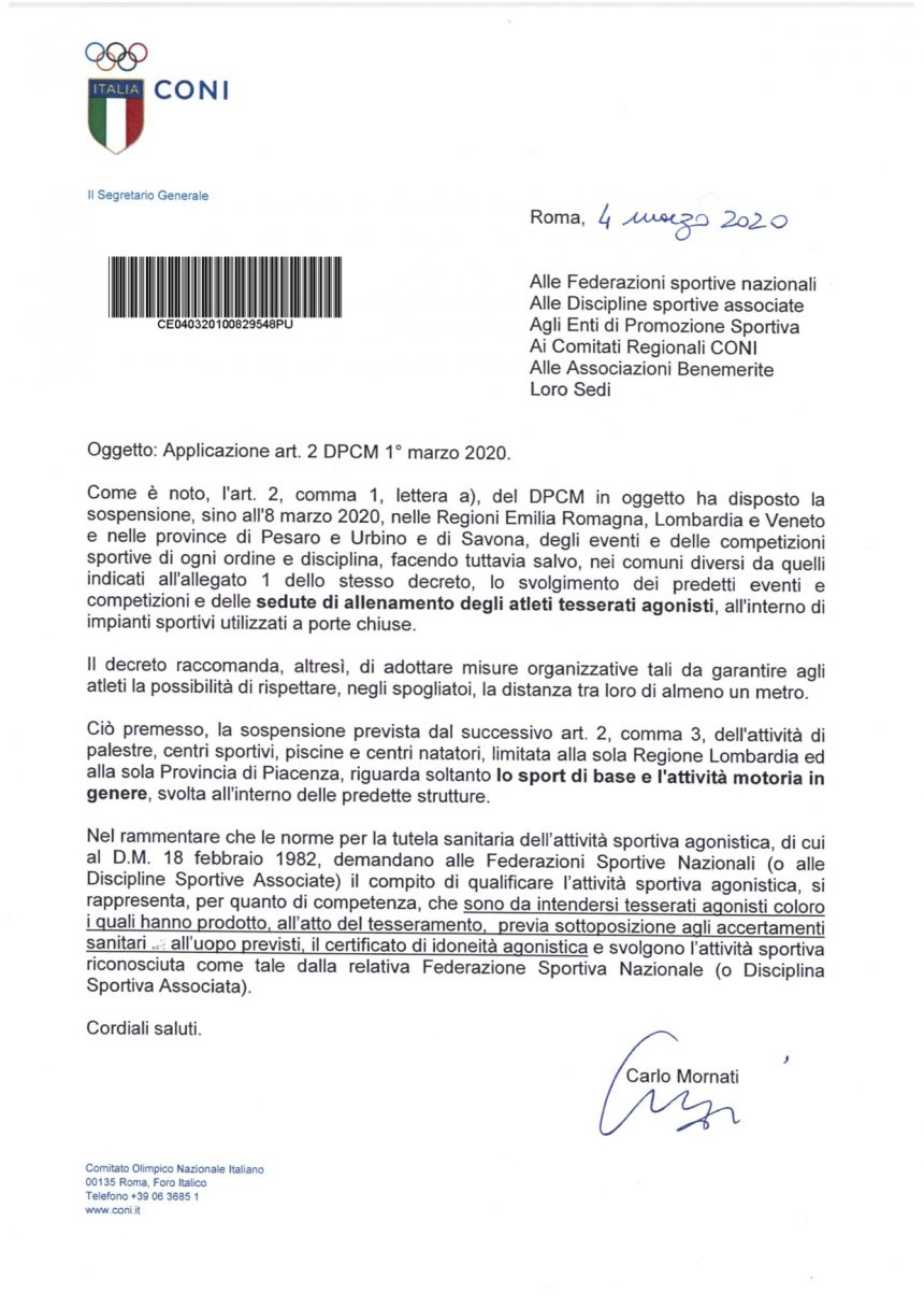 MILANO – AGGIORNAMENTO 04/03/2020