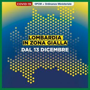 REGIONE LOMBARDIA: DA DOMENICA 13 DICEMBRE DIVENTA ZONA GIALLA