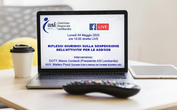 SEMINARIO: RIFLESSI GIURIDICI SULLA SOSPENSIONE DELL'ATTIVITA' PER LE ASD/SSD  IN DIRETTA LIVE/FACEBOOK